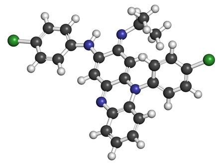 lepra: Clofazimina lepra mol�cula de f�rmaco. Los �tomos se representan como esferas con codificaci�n de colores convencionales: hidr�geno (blanco), carbono (gris), nitr�geno (azul), cloro (verde).