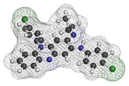 lepra: Clofazimina lepra molécula de fármaco. Los átomos se representan como esferas con codificación de colores convencionales: hidrógeno (blanco), carbono (gris), nitrógeno (azul), cloro (verde).