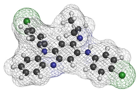 Clofazimine leprosy drug molecule. Atoms are represented as spheres with conventional color coding: hydrogen (white), carbon (grey), nitrogen (blue), chlorine (green).
