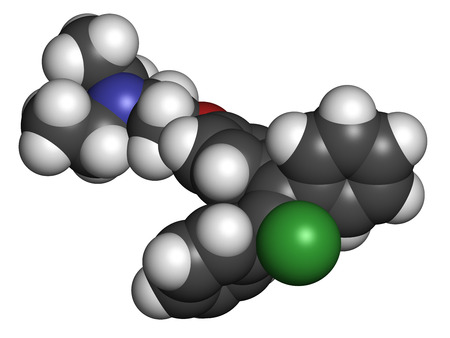 estrogen: Clomifene (clomiphene) ovulation inducing drug molecule. The E-isomer (enclomifene) isomer is shown. Atoms are represented as spheres with conventional color coding: hydrogen (white), carbon (grey), oxygen (red), nitrogen (blue), chlorine (green). Stock Photo