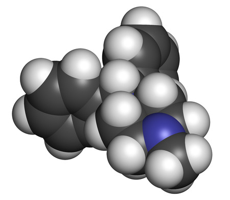 antihistamine: Cyclizine antiemetic drug molecule. Antihistamine used to treat nausea and vomiting. Atoms are represented as spheres with conventional color coding: hydrogen (white), carbon (grey), nitrogen (blue).