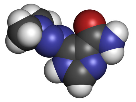 chemotherapy drug: Dacarbazine cancer chemotherapy drug molecule. Atoms are represented as spheres with conventional color coding: hydrogen (white), carbon (grey), nitrogen (blue).
