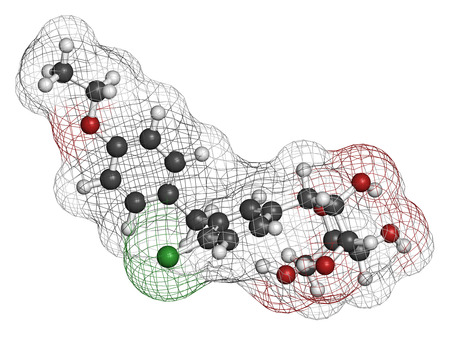 generic medicine: Dapagliflozin diabetes drug molecule. Inhibitor of sodium-glucose transport proteins subtype 2 (SGLT2). Atoms are represented as spheres with conventional color coding: hydrogen (white), carbon (grey), oxygen (red), chlorine (green).