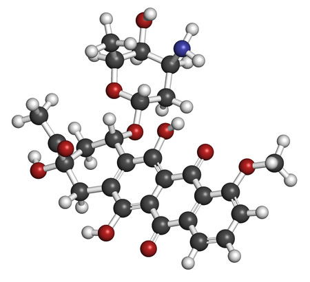 aml: Daunorubicin (daunomycin) cancer chemotherapy drug molecule. Atoms are represented as spheres with conventional color coding: hydrogen (white), carbon (grey), oxygen (red), nitrogen (blue). Stock Photo