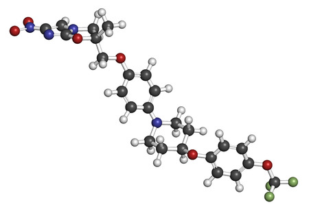 generic medicine: Delamanid tuberculosis drug molecule. Atoms are represented as spheres with conventional color coding: hydrogen (white), carbon (grey), oxygen (red), nitrogen (blue), fluorine (light green). Stock Photo