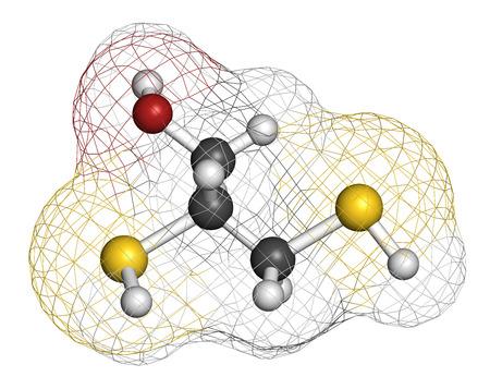 poisoning: Dimercaprol (BAL, britannico Anti-Lewisite) avvelenamento da metalli antidoto molecola. Gli atomi sono rappresentati come sfere con codifica a colori convenzionali: idrogeno (bianco), il carbonio (grigio), ossigeno (rosso), zolfo (giallo).