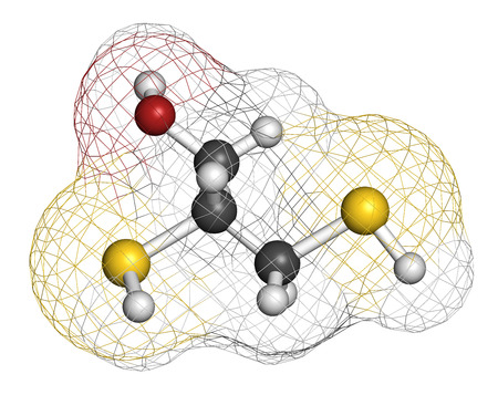 Dimercaprol (BAL, British Anti-Lewisite) metal poisoning antidote molecule. Atoms are represented as spheres with conventional color coding: hydrogen (white), carbon (grey), oxygen (red), sulfur (yellow). Stock Photo