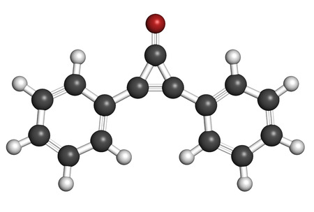 immunotherapy: Diphencyprone (diphenylcyclopropenone) alopecia treatment drug molecule. Atoms are represented as spheres with conventional color coding: hydrogen (white), carbon (grey), oxygen (red). Stock Photo