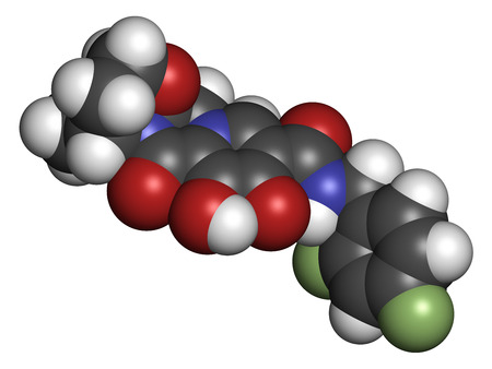 antiviral: Dolutegravir HIV drug molecule. Integrase inhibitor antiviral class. Atoms are represented as spheres with conventional color coding: hydrogen (white), carbon (grey), oxygen (red), nitrogen (blue), fluorine (light green).
