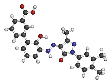 thrombocytopenia: Eltrombopag thrombocytopenia (low blood platelet count) drug molecule. Atoms are represented as spheres with conventional color coding: hydrogen (white), carbon (grey), oxygen (red), nitrogen (blue). Stock Photo