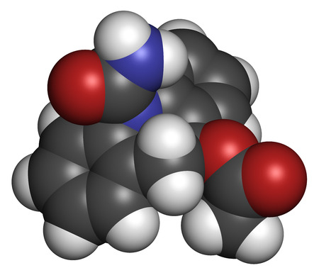 generic medicine: Eslicarbazepine acetate epilepsy drug molecule. Atoms are represented as spheres with conventional color coding: hydrogen (white), carbon (grey), oxygen (red), nitrogen (blue).