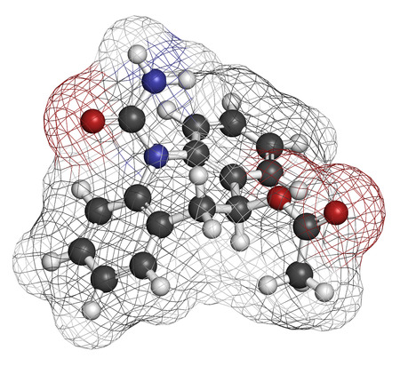acetic: Eslicarbazepine acetate epilepsy drug molecule. Atoms are represented as spheres with conventional color coding: hydrogen (white), carbon (grey), oxygen (red), nitrogen (blue).