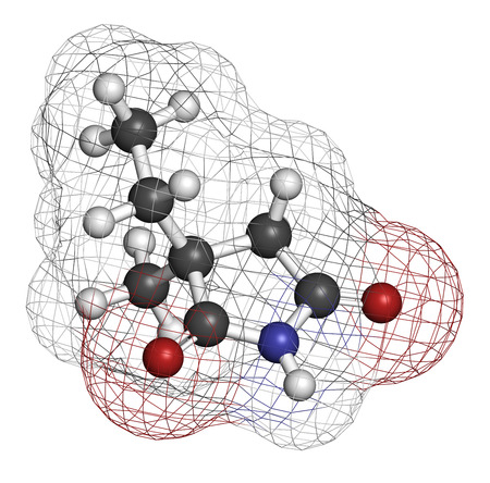 anticonvulsant: Ethosuximide anticonvulsant drug molecule. Used in treatment of absence seizures. Atoms are represented as spheres with conventional color coding: hydrogen (white), carbon (grey), oxygen (red), nitrogen (blue).