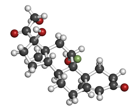 substitution: Fludrocortisone aldosterone hormone substitution drug molecule. Atoms are represented as spheres with conventional color coding: hydrogen (white), carbon (grey), oxygen (red), fluorine (light green). Stock Photo