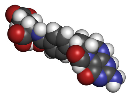 Folinic acid (leucovorin) drug molecule. Used as adjuvant during cancer chemotherapy with methotrexate. Atoms are represented as spheres with conventional color coding: hydrogen (white), carbon (grey), oxygen (red), nitrogen (blue). Stock Photo
