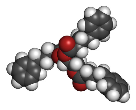 urea: Glycerol phenylbutyrate urea cycle disorder drug molecule. Atoms are represented as spheres with conventional color coding: hydrogen (white), carbon (grey), oxygen (red).