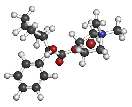 acetylcholine: Glycopyrronium bromide (glycopyrrolate) COPD drug molecule. Has additional medical uses as well. Atoms are represented as spheres with conventional color coding: hydrogen (white), carbon (grey), oxygen (red), nitrogen (blue), bromine (brown). Stock Photo