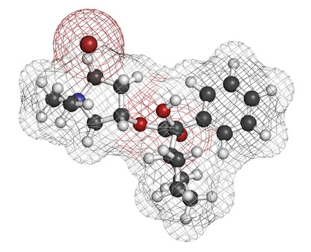 anticholinergic: Glycopyrronium bromide (glycopyrrolate) COPD drug molecule. Has additional medical uses as well. Atoms are represented as spheres with conventional color coding: hydrogen (white), carbon (grey), oxygen (red), nitrogen (blue), bromine (brown). Stock Photo