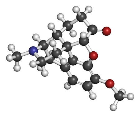 cough medicine: Hydrocodone narcotic analgesic drug molecule. Also used as cough medicine. Atoms are represented as spheres with conventional color coding: hydrogen (white), carbon (grey), oxygen (red), nitrogen (blue).