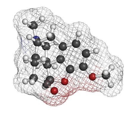 analgesic: Hydrocodone narcotic analgesic drug molecule. Also used as cough medicine. Atoms are represented as spheres with conventional color coding: hydrogen (white), carbon (grey), oxygen (red), nitrogen (blue).