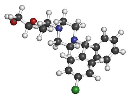antihistamine: Hydroxyzine antihistamine drug. Used include treatment of itching, anxiety and motion sickness. Atoms are represented as spheres with conventional color coding: hydrogen (white), carbon (grey), oxygen (red), nitrogen (blue), chlorine (green).