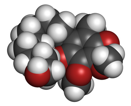 Idebenone drug molecule. Atoms are represented as spheres with conventional color coding: hydrogen (white), carbon (grey), oxygen (red).