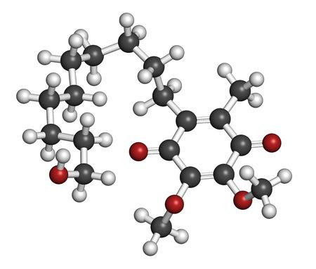 Molécula de fármaco Idebenone. Los átomos se representan como esferas con codificación de colores convencionales: hidrógeno (blanco), carbono (gris), oxígeno (roja). Foto de archivo