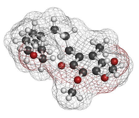 dystrophy: Idebenone drug molecule. Atoms are represented as spheres with conventional color coding: hydrogen (white), carbon (grey), oxygen (red).