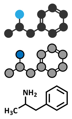amphetamine: La anfetamina (anfetamina, velocidad) mol�cula droga estimulante. Estilizada renderizado 2D y la f�rmula del esqueleto convencional. Vectores