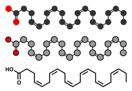 Docosahexaenoic acid (DHA, cervonic acid) molecule. Polyunsaturated omega-3 fatty acid, present in fish oil. Conventional skeletal formula and stylized representations.