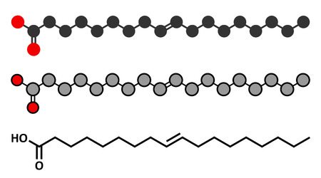unsaturated: Elaidic acid molecule. Main trans fat found in hydrogenated vegetable oils. Conventional skeletal formula and stylized representations.