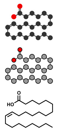 lipid a: Erucic acid molecule. Monounsaturated omega-9 fatty acid found in some plants. Conventional skeletal formula and stylized representations. Illustration