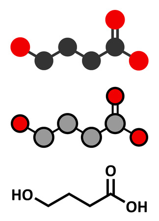 ecstasy: Gamma-hydroxybutyric acid (GHB, oxybate, liquid ecstasy) molecule. Stylized 2D rendering and conventional skeletal formula. Illustration