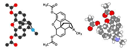 передозировка: Героин (диацетилморфин, морфин Диацетат, диаморфин) опиоидных молекулы лекарственного средства. 2D визуализации и 3D-мультфильм модель. Иллюстрация