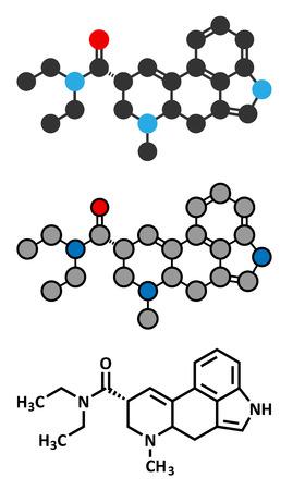 lsd: LSD (lysergic acid diethylamide) psychedelic drug molecule. Stylized 2D rendering and conventional skeletal formula.