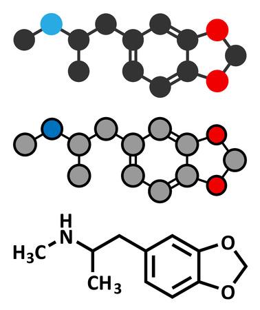 �xtasis: MDMA (XTC, E, �xtasis) mol�cula droga para fiestas. Nombre qu�mico completo es 3,4-metilendioximetanfetamina. Estilizada renderizado 2D y la f�rmula del esqueleto convencional. Vectores