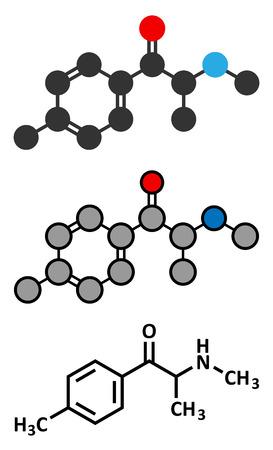 mmc: Mephedrone stimulant drug molecule. Synthetic designer drug Stylized 2D rendering and conventional skeletal formula. Illustration