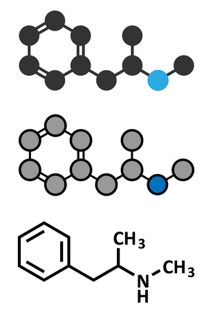 meth: Methamphetamine (crystal meth, methamfetamine) stimulant drug molecule. Stylized 2D rendering and conventional skeletal formula.