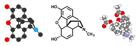 morphine: Morphine pain drug molecule. Highly addictive. Isolated from opium poppy (papaver somniferum). Stylized 2D rendering and conventional skeletal formula. Illustration