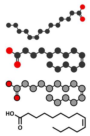 Myristoleic acid (omega-5) fatty acid molecule. Conventional skeletal formula and stylized representations. Illustration