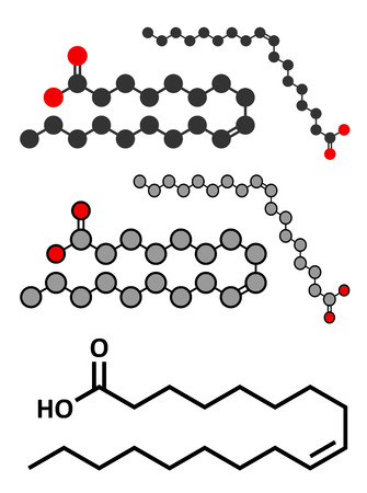 lipid a: Oleic acid (omega-9, cis) fatty acid. Common in animal fats and vegetable oils. Its salt, sodium oleate, is often used in soap. Conventional skeletal formula and stylized representations.