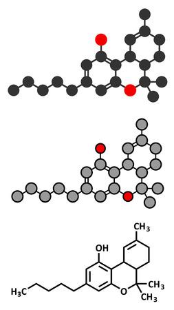 THC (delta-9-tetrahydrocannabinol, dronabinol) cannabis drug molecule. Conventional skeletal formula and stylized representations. Vector