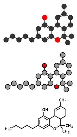 cannabinoid: THC (delta-9-tetrahydrocannabinol, dronabinol) cannabis drug molecule. Conventional skeletal formula and stylized representations. Illustration