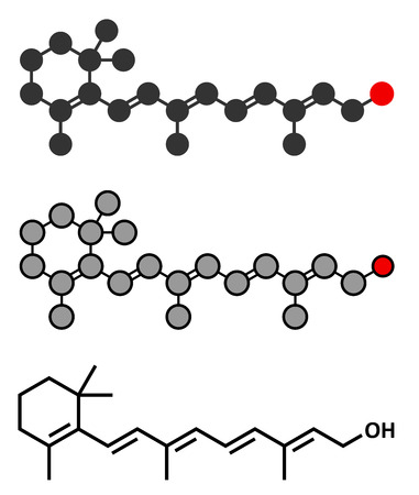 Vitamin A (retinol) molecule. Stylized 2D rendering and conventional skeletal formula.