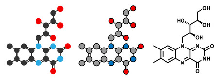supplementation: Vitamin B2 (riboflavin) molecule. Stylized 2D rendering and conventional skeletal formula.