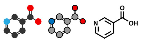 supplementation: Vitamin B3 (niacin) molecule. Stylized 2D rendering and conventional skeletal formula. Illustration