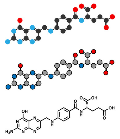Vitamin B9 (folic acid) molecule. Stylized 2D rendering and conventional skeletal formula. Vector