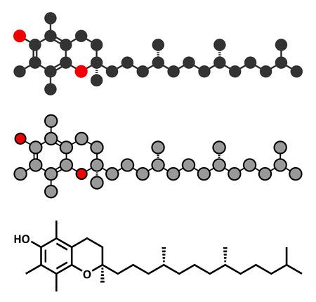 supplementation: Vitamin E (alpha tocopherol) molecule. Stylized 2D rendering and conventional skeletal formula.