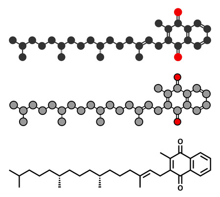 thrombus: Vitamin K (K1, phylloquinone, phytomenadione) molecule. Stylized 2D rendering and conventional skeletal formula.