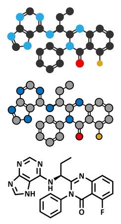 leucemia: Idelalisib mol�cula de f�rmaco leucemia. Inhibidor de phosphoinositide 3-quinasa (PI3K). Estilizada representaci�n 2D y f�rmula esqueletal convencional.
